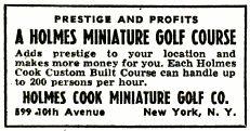 Holmes Cook Miniature Golf Company ad