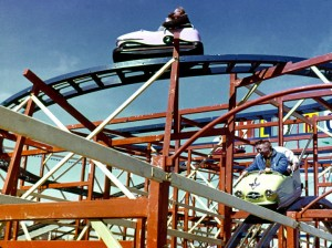 Wild Mouse at the 1962 World's Fair in Seattle. Photo from Roller Coasters of the Pacific Northwest, uncredited.