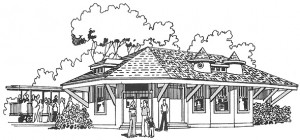 Pioneer Village Railroad Station relocated from Kaysville. Illustration from a 1976 park brochure.