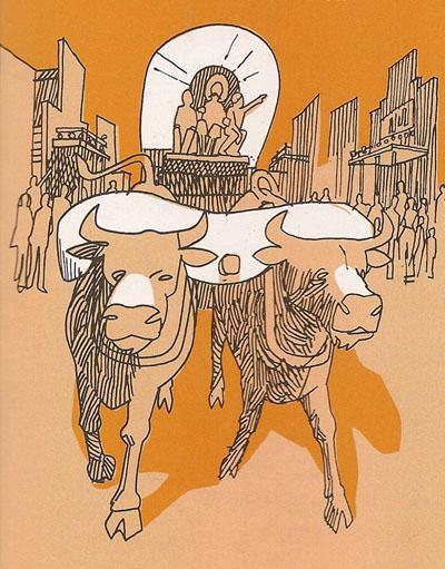 Ox-Drawn Wagon illustration