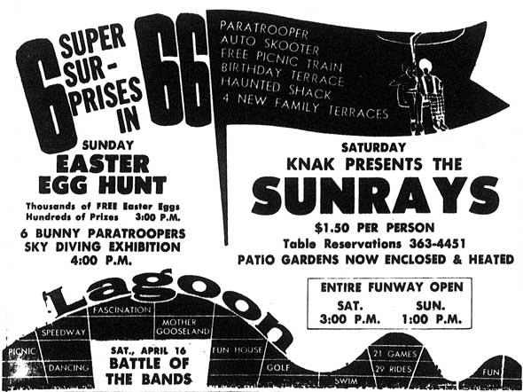 April 1966 newspaper ad announcing events and new attractions for the season's opening weekend.