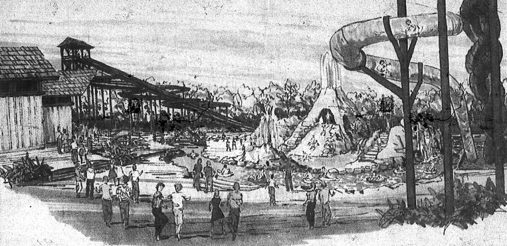 Artist's concept of Lagoon-A-Beach printed in the Deseret News in 1989.