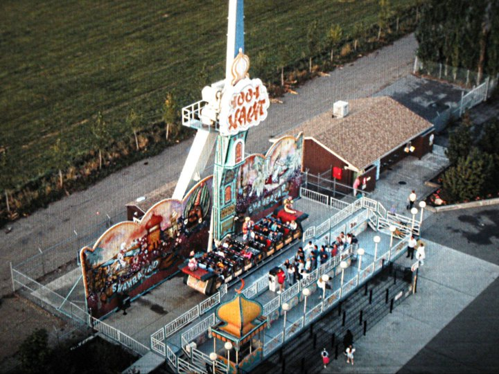 Flying Carpet as seen from the Sky Scraper in 1991. The former race track is visible along the back of the ride. Photo courtesy of Lagoon