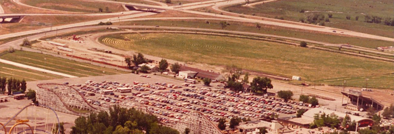 Aerial view showing part of the race track and fairgrounds around 1984. Photo courtesy of Lagoon