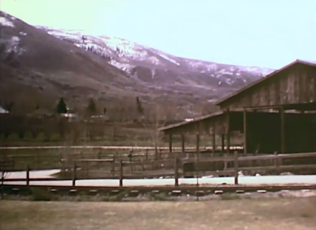 A view of the east side of Pioneer Village and the Pioneer Pavilion in 1980. From a film by Joseph L. Hatch
