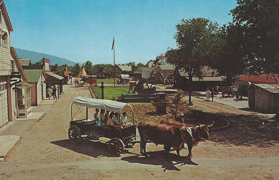 Postcard showing Pioneer Village as it appeared in its original location.