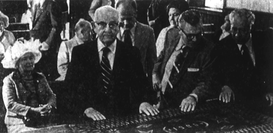 Spencer W. Kimball in the Rock Chapel on the day he dedicated Pioneer Village at Lagoon, 31 May 1976. Photo: Deseret News